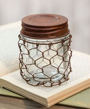 Picture of Rusty Chicken Wire Jar with Lid