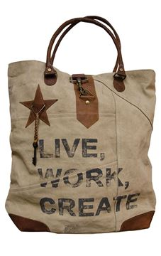 Picture of Vintage Live, Work, Create Canvas Handbag