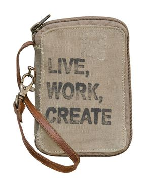 Picture of Vintage Live, Work, Create Canvas Wallet