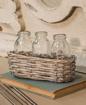 Picture of Wicker Basket with Three Bottles
