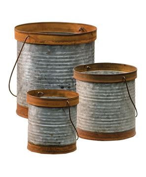 Picture of Rusty Galvanized Metal Canisters, 3/Set