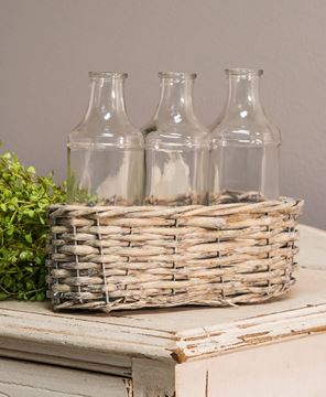 Picture of Three Large Bottles in Wicker Basket