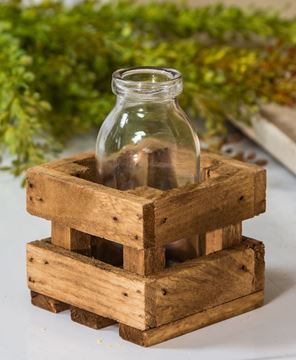 Picture of Small Glass Bottle in Wood Crate