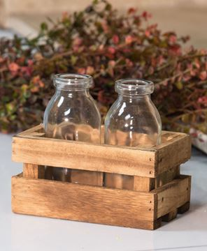 Picture of Milk Bottles in Wood Crate