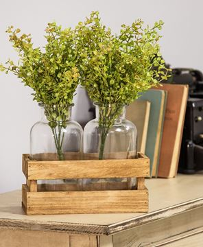 Picture of Large Milk Bottles in Wood Crate