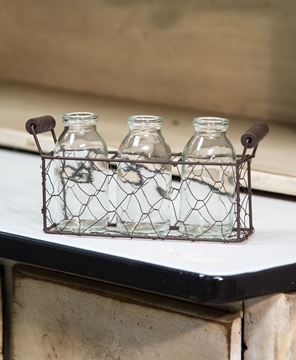 Picture of Glass Bottles in Chicken Wire Basket