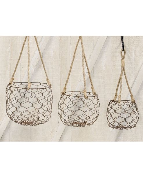 Round Wire Baskets, 3 set