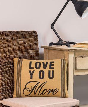 Love You More Burlap Pillow