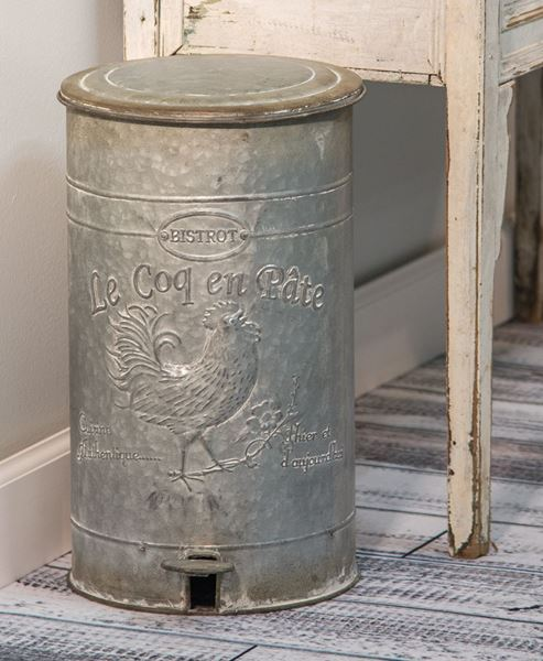 Embossed Metal Trash Bin
