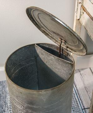 Embossed Metal Trash Bin