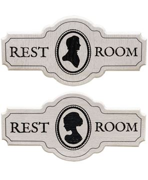 Victorian Restroom Sign Set
