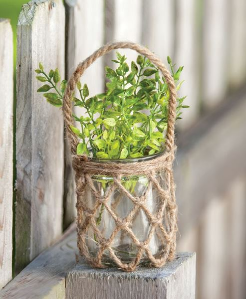 Glass Jar with Rope Netting