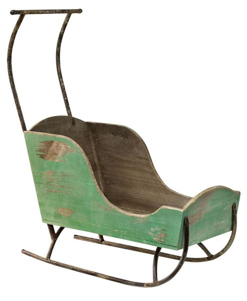 Green Wooden Sled