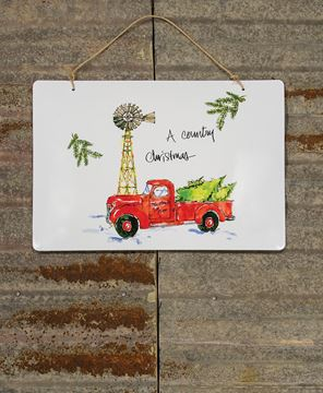 Country Christmas Enamel Sign