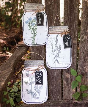 Picture of Herb Enamel Mason Jar Signs - 3 asst.