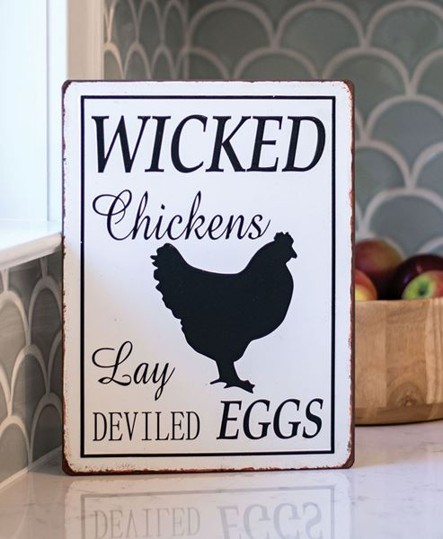 NEW WICKED CHICKENS LAY DEVILED EGGS Country Hen Black Wood Home Decor Sign