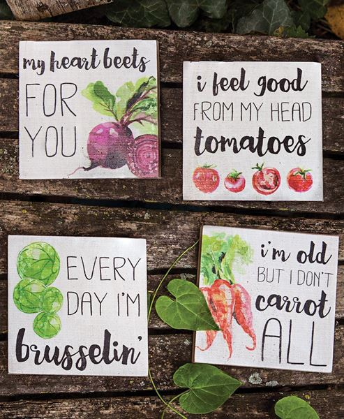 Heart Beets Block Signs, 4/set