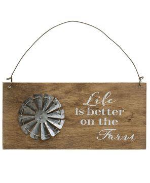 Farm Life Windmill Hanging Sign