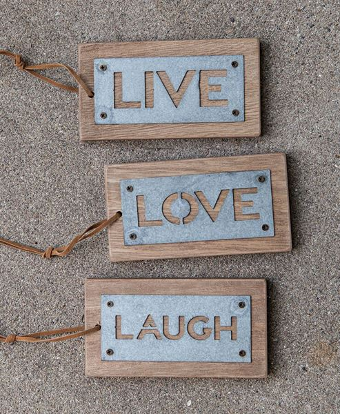 Metal Live Love Laugh Tags, 3/set