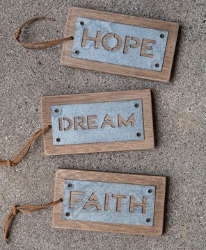 Metal Hope Dream Faith Tags, 3/set