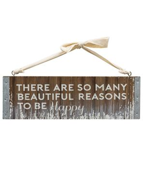 Be Happy Slatted Wood Hanger