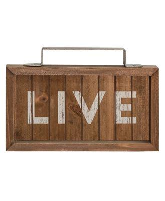 Live Slatted Wood Sign w/Handle