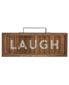 Laugh Slatted Wood Sign w/Handle