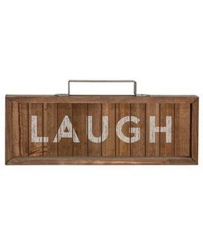 Laugh Slatted Wood Sign w/Handle