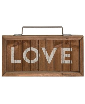 Love Slatted Wood Sign w/ Handle