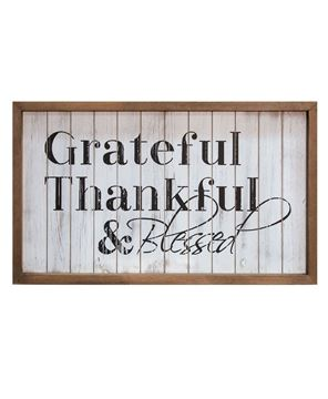 Framed Shiplap Grateful & Blessed Sign
