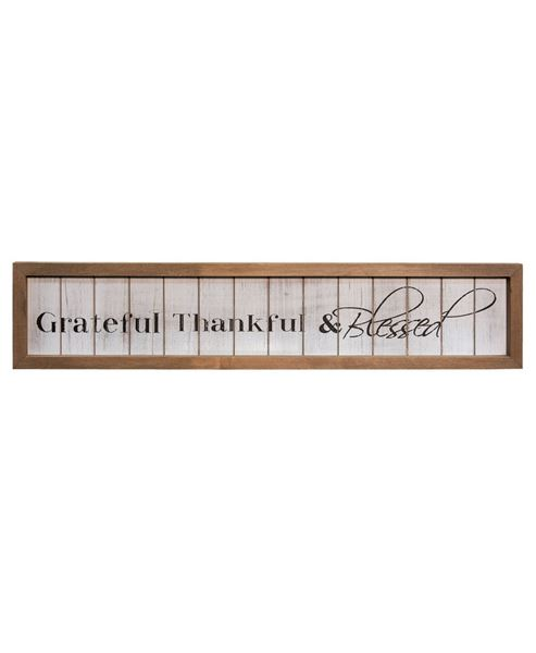 Thankful & Blessed Framed Shiplap Sign