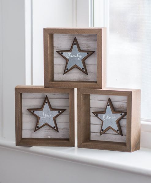 Picture of Believe, Family, Love Star Box Signs, 3 Asst.