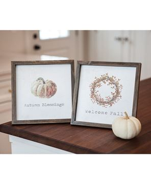 """Picture of Framed Watercolor Wall Art, 10"""" - Fall, 2 Asstd."""