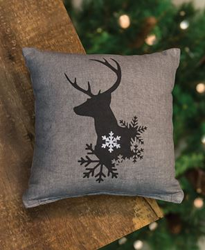"""Picture of Reindeer Pillow, 10"""""""