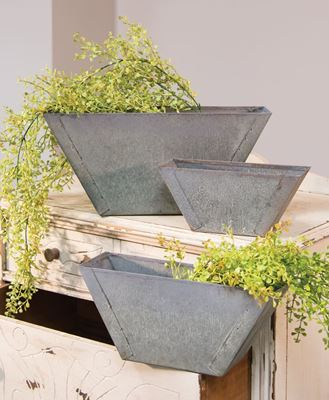 Picture of Washed Galvanized Wall Flower Boxes, 3/set