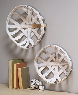 Picture of White Wash Tobacco Style Baskets, 2/set