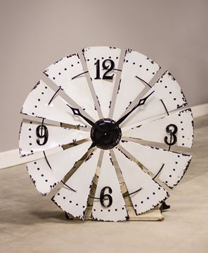 Picture of White Enamel Windmill Wall Clock