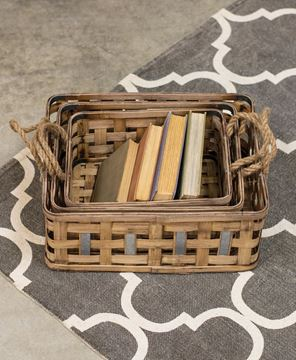 Picture of Woven Baskets w/Metal Weave, 3/set