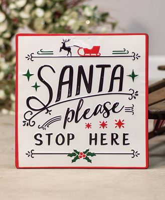 Picture of Santa Stop Here Enamel Sign