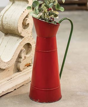 Picture of Red Metal Carafe w/Green Handle