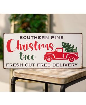 Picture of Red Truck Southern Pine Christmas Tree Metal Sign