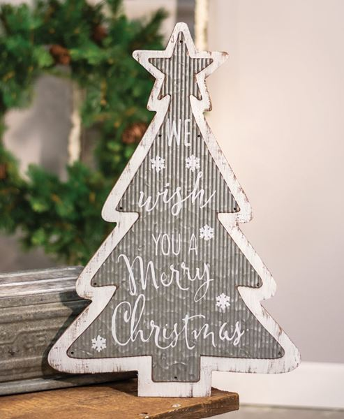 galvanized metal and wood merry christmas tree sign - Wooden Christmas Decorations Wholesale