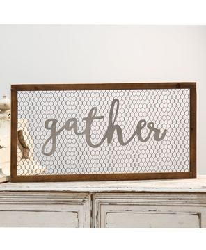 Picture of Framed Chicken Wire Sign - Gather