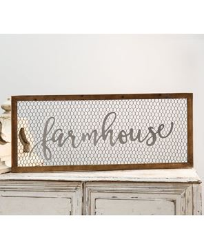 Picture of Framed Chicken Wire Sign - Farmhouse