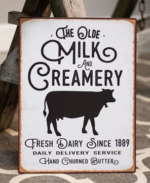 Picture of The Olde Milk & Creamery Distressed Metal Sign