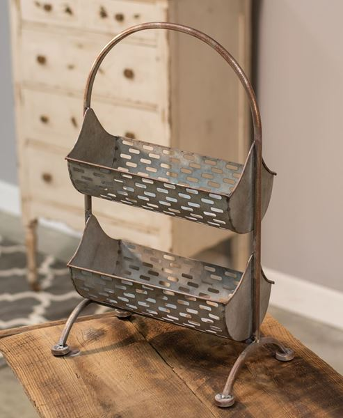 Picture of Galvanized Olive Bucket Two-Tier Organizer