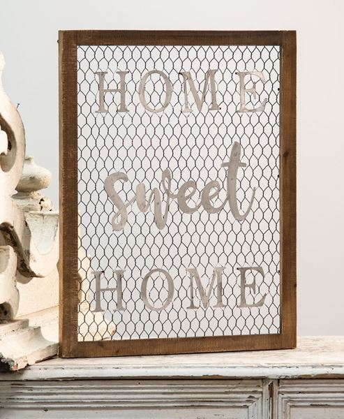 Picture of Framed Chicken Wire Wall Art - Home Sweet Home
