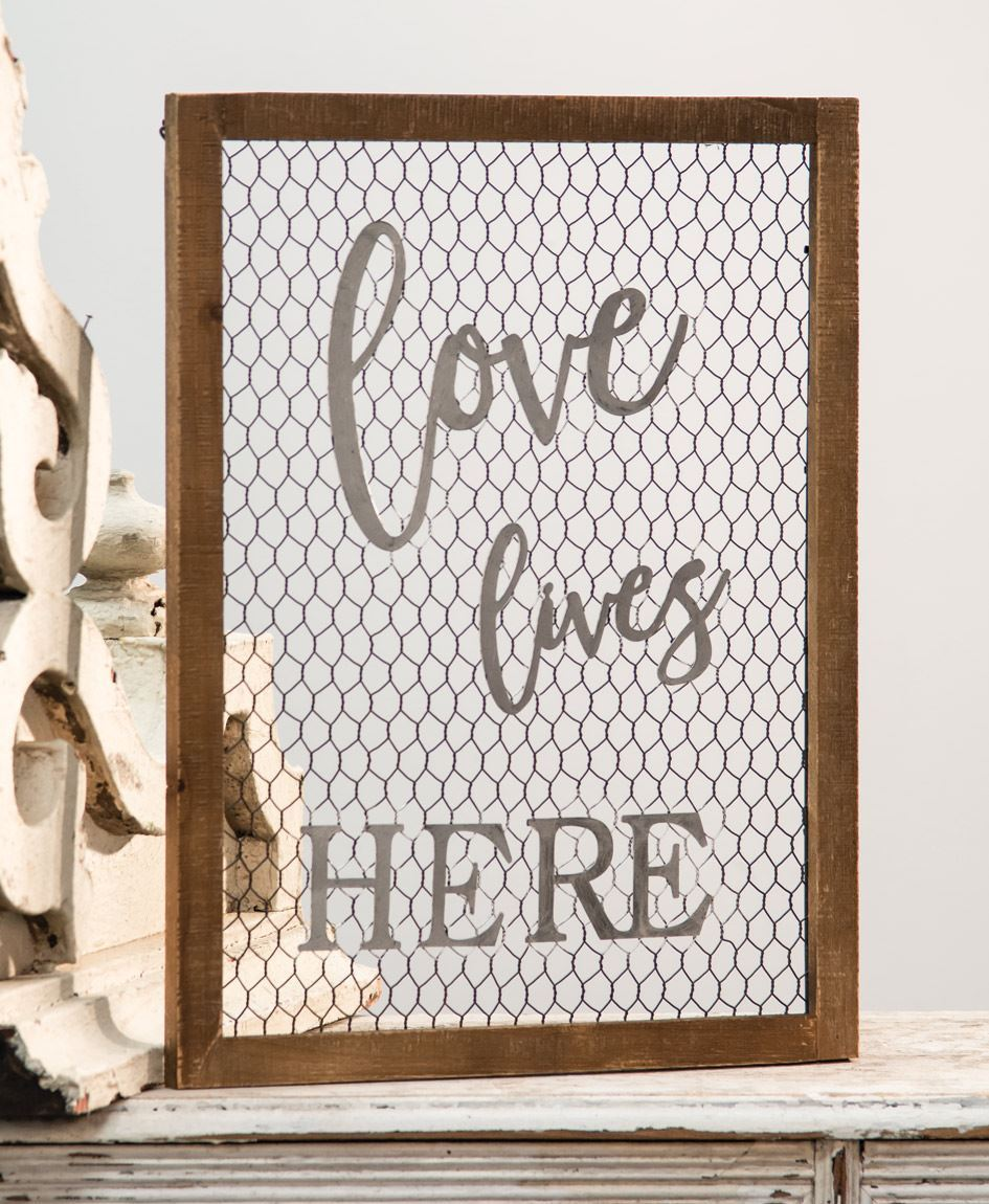 Craft House Designs - Wholesale| Framed Chicken Wire Wall Sign ...