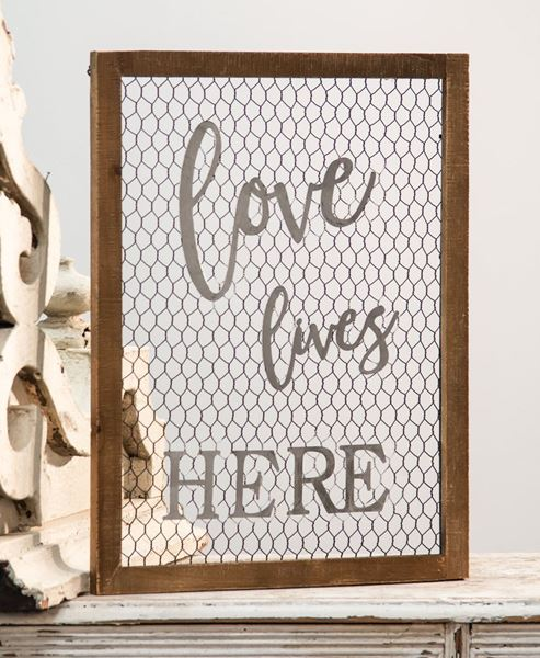 Picture of Framed Chicken Wire Wall Sign - Love Lives Here