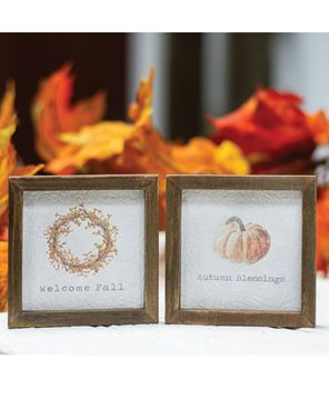 """Picture of Mini Framed Watercolor Art, 4"""" - Fall, 2 Asstd."""